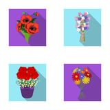 A bouquet of fresh flowers flat icons in set collection for design. Various bouquets vector symbol stock web. A bouquet of fresh flowers flat icons in set Royalty Free Stock Photo