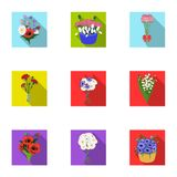 A bouquet of fresh flowers flat icons in set collection for design. Various bouquets vector symbol stock web. A bouquet of fresh flowers flat icons in set vector illustration