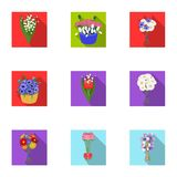 A bouquet of fresh flowers flat icons in set collection for design. Various bouquets vector symbol stock web. A bouquet of fresh flowers flat icons in set Royalty Free Stock Image