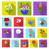 A bouquet of fresh flowers flat icons in set collection for design. Various bouquets vector symbol stock web. A bouquet of fresh flowers flat icons in set Stock Photography