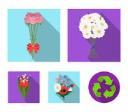 A bouquet of fresh flowers flat icons in set collection for design. Various bouquets vector symbol stock web. A bouquet of fresh flowers flat icons in set Royalty Free Stock Images