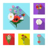 A bouquet of fresh flowers flat icons in set collection for design. Various bouquets vector symbol stock web. A bouquet of fresh flowers flat icons in set stock illustration