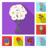 A bouquet of fresh flowers flat icons in set collection for design. Various bouquets vector symbol stock web. A bouquet of fresh flowers flat icons in set Stock Images