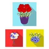 A bouquet of fresh flowers flat icons in set collection for design. Various bouquets vector symbol stock web. A bouquet of fresh flowers flat icons in set Stock Photos