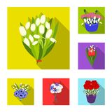 A bouquet of fresh flowers flat icons in set collection for design. Various bouquets vector symbol stock web. A bouquet of fresh flowers flat icons in set royalty free illustration