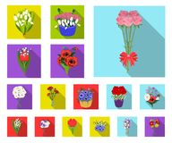 A bouquet of fresh flowers flat icons in set collection for design. Various bouquets vector symbol stock web royalty free illustration