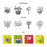 A bouquet of fresh flowers flat,outline,monochrome icons in set collection for design. Various bouquets vector symbol. Stock  illustration Stock Photo