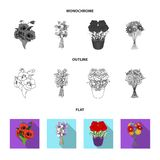 A bouquet of fresh flowers flat,outline,monochrome icons in set collection for design. Various bouquets vector symbol. Stock illustration vector illustration