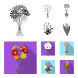 A bouquet of fresh flowers monochrome,flat icons in set collection for design. Various bouquets vector symbol stock web. A bouquet of fresh flowers monochrome Stock Images
