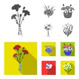 A bouquet of fresh flowers monochrome,flat icons in set collection for design. Various bouquets vector symbol stock web. A bouquet of fresh flowers monochrome vector illustration
