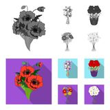A bouquet of fresh flowers monochrome,flat icons in set collection for design. Various bouquets vector symbol stock web. A bouquet of fresh flowers monochrome royalty free illustration