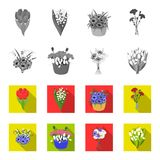 A bouquet of fresh flowers monochrome,flat icons in set collection for design. Various bouquets vector symbol stock web. A bouquet of fresh flowers monochrome Royalty Free Stock Photo