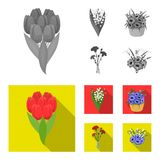 A bouquet of fresh flowers monochrome,flat icons in set collection for design. Various bouquets vector symbol stock web. A bouquet of fresh flowers monochrome Stock Image