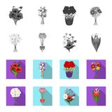A bouquet of fresh flowers monochrome,flat icons in set collection for design. Various bouquets vector symbol stock web. A bouquet of fresh flowers monochrome Royalty Free Stock Image