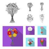 A bouquet of fresh flowers outline,flat icons in set collection for design. Various bouquets vector symbol stock web. A bouquet of fresh flowers outline,flat Stock Images
