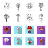A bouquet of fresh flowers outline,flat icons in set collection for design. Various bouquets vector symbol stock web. A bouquet of fresh flowers outline,flat Stock Image