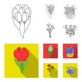 A bouquet of fresh flowers outline,flat icons in set collection for design. Various bouquets vector symbol stock web. A bouquet of fresh flowers outline,flat Royalty Free Stock Image