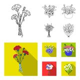 A bouquet of fresh flowers outline,flat icons in set collection for design. Various bouquets vector symbol stock web. A bouquet of fresh flowers outline,flat Royalty Free Stock Photography