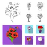 A bouquet of fresh flowers outline,flat icons in set collection for design. Various bouquets vector symbol stock web. A bouquet of fresh flowers outline,flat royalty free illustration