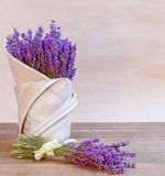 Bouquet of fresh lavender. On the table Royalty Free Stock Photography