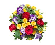 Bouquet of fresh multicolored flowers isolated on white background Royalty Free Stock Photos