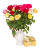 Bouquet of fresh multicolored  roses Royalty Free Stock Photo
