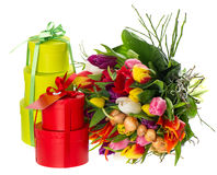 Bouquet of fresh multicolored tulips with gift box Stock Images