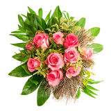 Bouquet of fresh pink roses isolated on white Stock Image