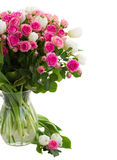 Bouquet  fresh pink roses and white tulips close up Royalty Free Stock Photos