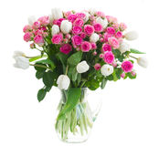 Bouquet  fresh pink roses and white tulips Royalty Free Stock Photography