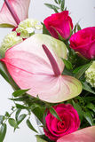 Bouquet from fresh red roses and  anthurium Royalty Free Stock Photos