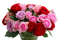 Bouquet of fresh roses and ranunculus. Bunch of roses and ranunculus close up isolated on white background Royalty Free Stock Photos
