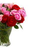 Bouquet of fresh roses and ranunculus. Bouquet of roses and ranunculus  in vase close up  isolated on white background Royalty Free Stock Image