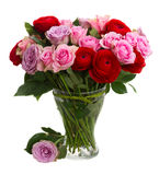 Bouquet of fresh roses and ranunculus. Bouquet of roses and ranunculus  in vase isolated on white background Stock Image