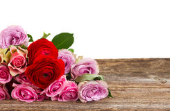 Bouquet of fresh roses and ranunculus. Bouquet of roses and ranunculus on wood border isolated on white background Stock Photos