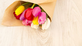 Bouquet of fresh spring colourful tulips Stock Photo