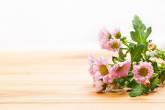 Bouquet of fresh spring flowers on rustic wood. Vintage Royalty Free Stock Images