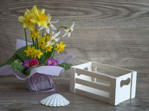 Bouquet of fresh spring flowers. And shell stock images
