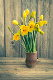 Bouquet of fresh spring narcissus on wooden background. Toned, soft focus Stock Photography