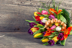 Bouquet of fresh spring tulip flowers Stock Image