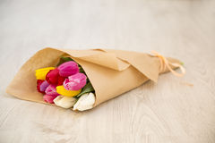 Bouquet of fresh spring tulips Royalty Free Stock Photography
