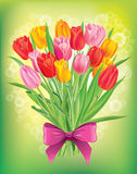 Bouquet of fresh spring tulips different colors Royalty Free Stock Photo
