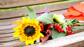 Bouquet of fresh sunflowers on old bench. royalty free stock photos