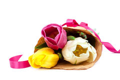 Bouquet of fresh tulips in paper packing. stock photography