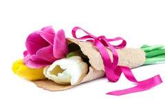 Bouquet of fresh tulipson white background. royalty free stock image
