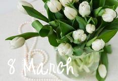 Bouquet of fresh white tulips stock photo