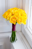 Wedding bouquet of yellow roses Royalty Free Stock Images