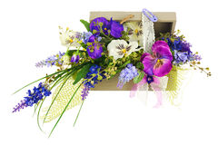 Bouquet From Artificial Flowers Arrangement Centerpiece In Wooden Gift Box. Royalty Free Stock Photo