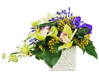 Free Bouquet From Orchids And Arabian Star Flower (Ornithogalum Arabicum) In Vase Isolated On White Background. Royalty Free Stock Photos - 34177988