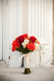 Bouquet in front of church Royalty Free Stock Photography